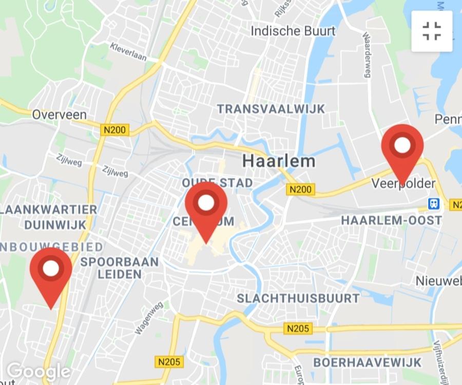 Kaart coronatest-haarlem.com - Coronavirus test locaties Haarlem